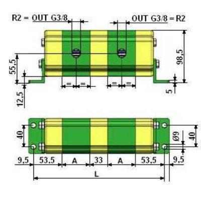 Verdeelmotor, 2 voudig, 3-15,5 l/min