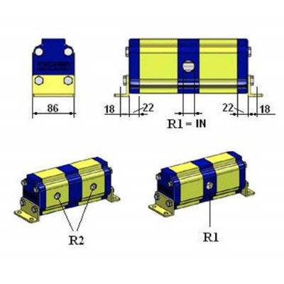 Verdeelmotor, 3 voudig, 13,2-27,5 l/min