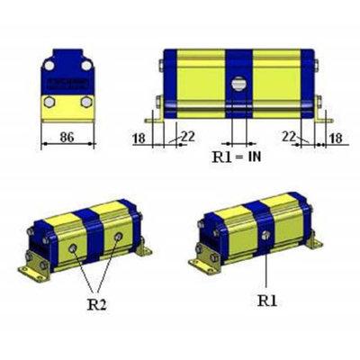 Verdeelmotor, 2 voudig, 48-100 l/min