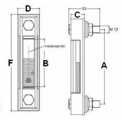 Peilglas met thermometer aansluiting M12, lengte 127 mm