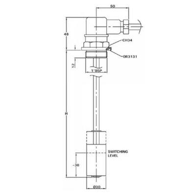 Elektrische niveaumeter, hydrauliektank, Flens, 200 mm (LEN)