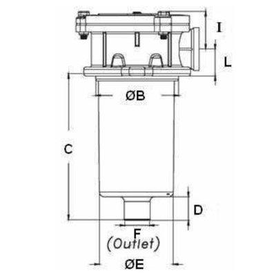 Hydrauliektank retourfilter 1'' BSP, 10μ, 250 L/min