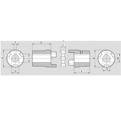 Elastische koppeling Groep 1 - 14 mm