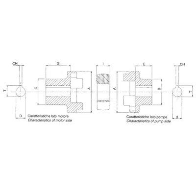 Elastische koppeling Groep  2 - 25 mm