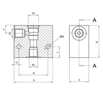 2/2 hydrauliek klep met terugslagklep NC 3/8