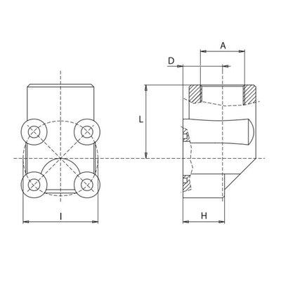 Pompflens haaks, 4 gaats 3/8'' BSP (30mm)