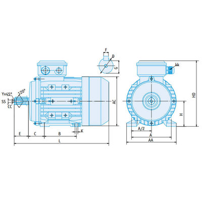 IE2 Elektromotor 1,5 kW, 230/400 Volt Voetflensbevestiging B3-B5, 1500 RPM