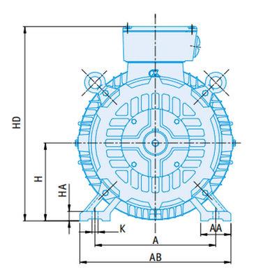 IE2 Elektromotor 22 kW, 230/400 Volt Voetflensbevestiging B3-B5, 1500 RPM