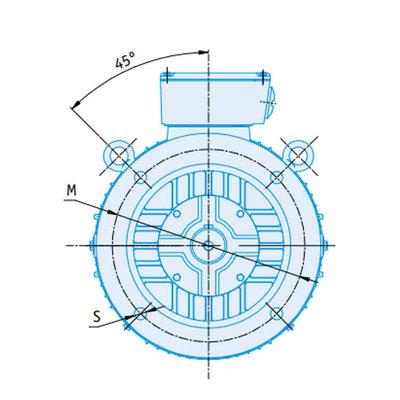 IE2 Elektromotor 37 kW, 230/400 Volt Voetflensbevestiging B3-B5, 1500 RPM