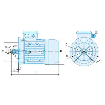 IE2 Elektromotor 1,5 kW, 230/400 Volt Voetflensbevestiging B3-B5, 1000 RPM