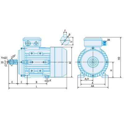 IE2 Elektromotor 5,5 kW, 230/400 Volt Voetflensbevestiging B3-B5, 1000 RPM