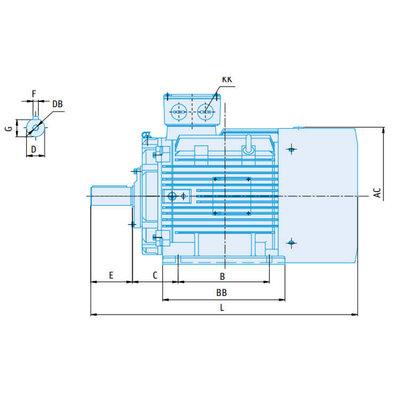 IE2 Elektromotor 55 kW, 230/400 Volt Voetflensbevestiging B3-B5, 1000 RPM