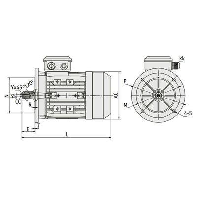 IE3 Elektromotor 1,1 kW, 230/400 Volt Voetflensbevestiging B3-B5, 3000 RPM