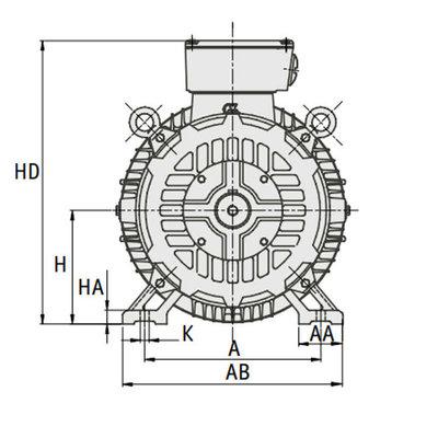 IE3 Elektromotor 15 kW, 230/400 Volt Voetflensbevestiging B3-B5, 1000 RPM