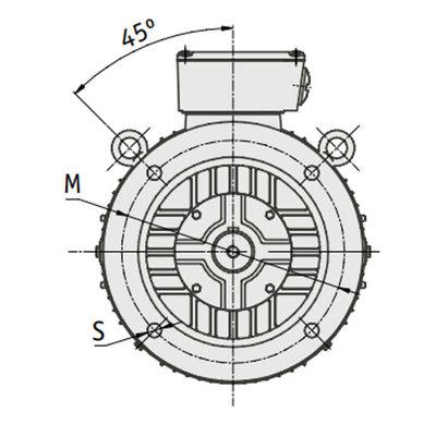 IE3 Elektromotor 55 kW, 230/400 Volt Voetflensbevestiging B3-B5, 1000 RPM