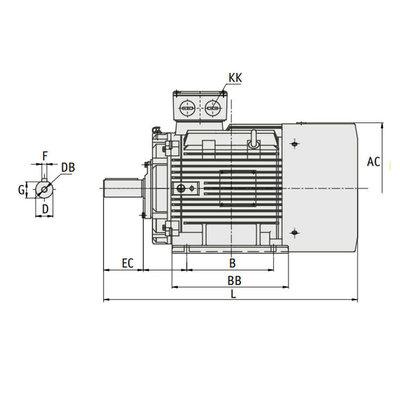 IE3 Elektromotor 22 kW, 230/400 Volt Voetflensbevestiging B3-B5, 1500 RPM