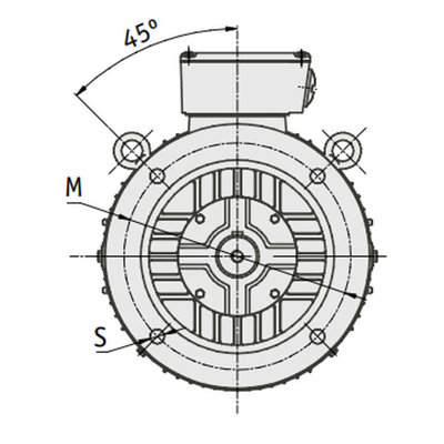 IE3 Elektromotor 45 kW, 230/400 Volt Voetflensbevestiging B3-B5, 1500 RPM