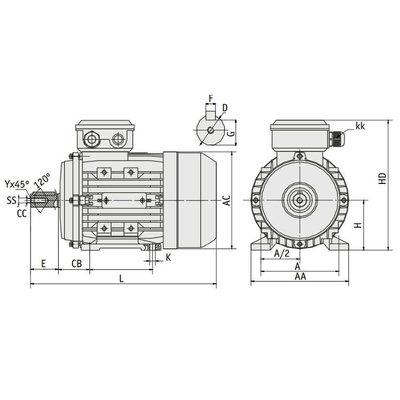 IE3 Elektromotor 5,5 kW, 230/400 Volt Voetflensbevestiging B3-B5, 3000 RPM