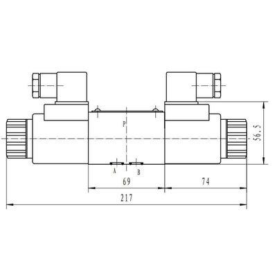 NG6 24V Cetop Elektrisch 4/3 stuurventiel, PT Verbonden AB Gesloten
