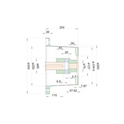 Lantaarnstuk FE SAE-C, Flens 350 mm