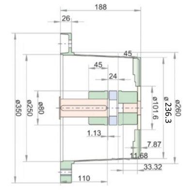 Lantaarnstuk LKJ SAE-B, Flens 350 mm