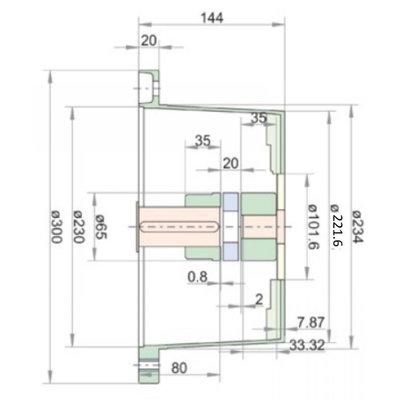 Lantaarnstuk LKJ SAE-B, Flens 300 mm