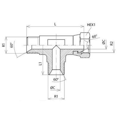 Instelbare T-adapter 3/8