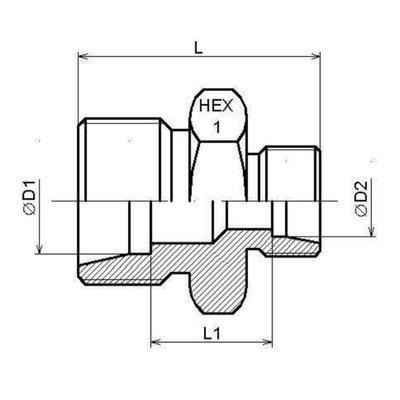 Verloopadapter 10L-6L male-male