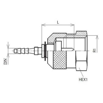Minimess koppeling female (M16x2)