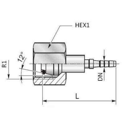 Minimess koppeling female 6L (M12x1,5)