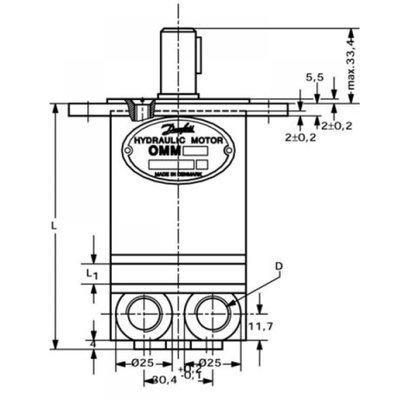 Danfoss OMM 13 cc hydraulische motor 16 mm as met zijaansluiting