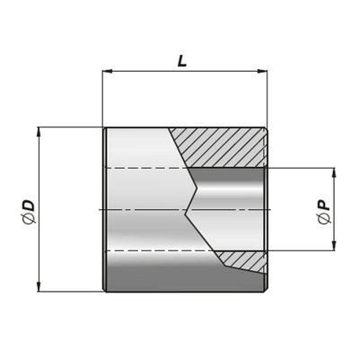 HM2 bevestigingsbus met binnendiameter 20,25 mm voor cilinder met boring Ø50 mm, lengte 40 mm