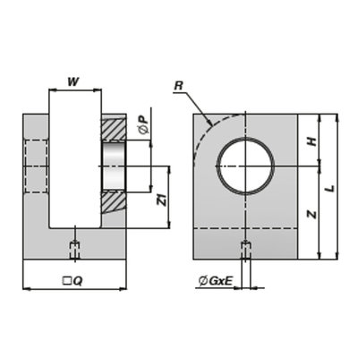 HM5 lasbare vork met binnendiameter 20,25 mm voor cilinder met boring Ø50 mm