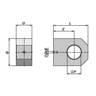 HM5 gaffel bevestiging met binnendiameter 25,25 mm voor cilinder met boring Ø60 mm