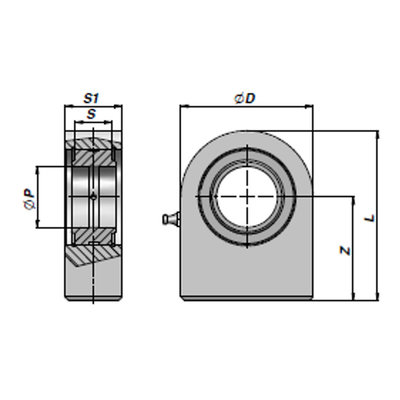 HMB gelenkoog met binnendiameter 16 mm voor cilinder met boring Ø32 mm en Ø40 mm (Duits model)