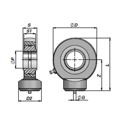 HMB gelenkoog met binnendiameter 25 mm voor cilinder met boring ¯70 mm (Engels model)