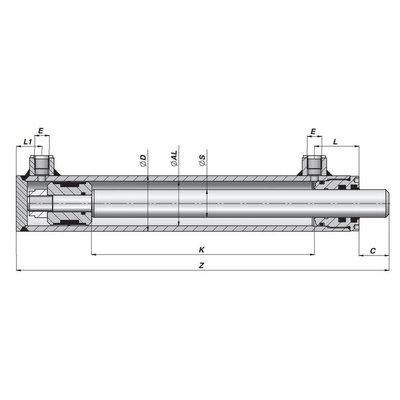 Dubbelwerkende cilinder 40x25 op maat