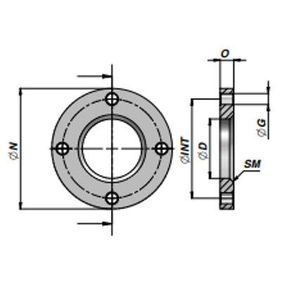 HMF front flens voor cilinder met boring Ø100 mm