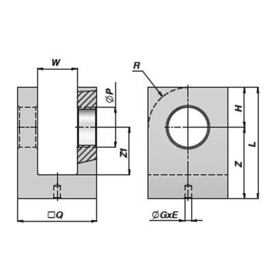HM5 lasbare vork met binnendiameter 25,25 mm voor cilinder met boring Ø70 mm