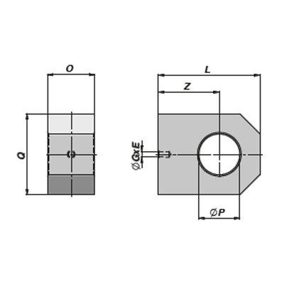 HM5 gaffel bevestiging met binnendiameter 25,25 mm voor cilinder met boring Ø70 mm