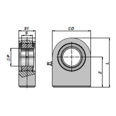 HMB gelenkoog met binnendiameter 40 mm voor cilinder met boring Ø100 mm (Duits model)