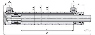Dubbelwerkende cilinder 40x25x550 zonder bevestiging