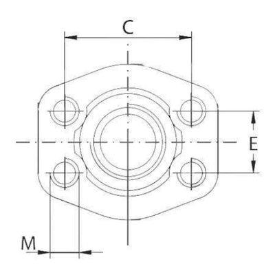 SAE schroefdraad tegenflens (female) 2 BSP, 2 inch, 6000 PSI