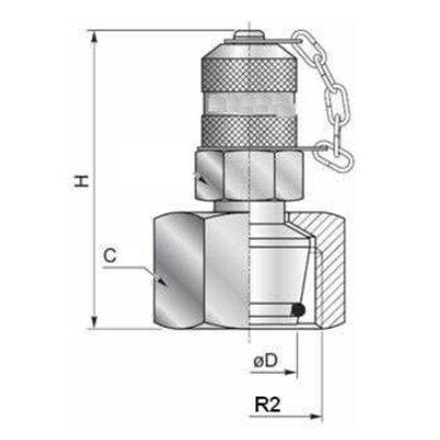 Minimess koppeling female - 12L (M18x1,5) met metrische wartel en o-ring