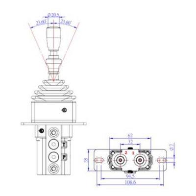 Hydraulische joystick met vergrendeling 5-20 L/min