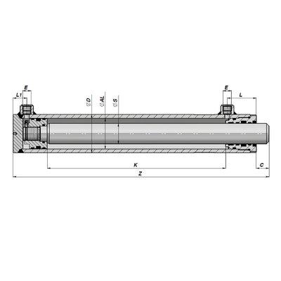Dubbelwerkende hogedruk cilinder 60x40x800 zonder bevestiging