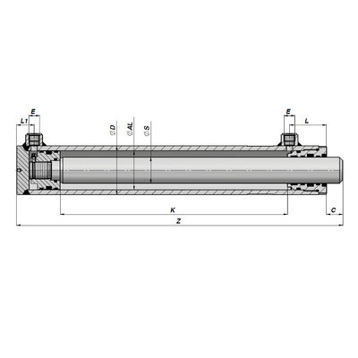 Dubbelwerkende hogedruk cilinder 70x40x800 zonder bevestiging