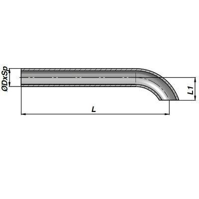 Lasbare hydrauliekleiding voor cilinder met buisdiameter 10 mm en lengte 600 mm