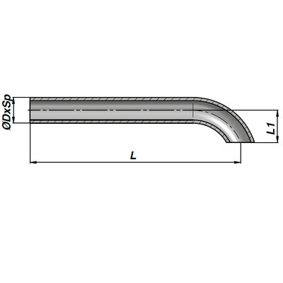Lasbare hydrauliekleiding voor cilinder met buisdiameter 12 mm en lengte 600 mm