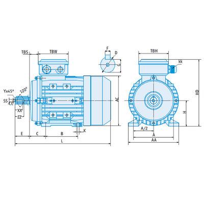 IE1 Elektromotor 0,12 kW, 230/400 Volt 3000 RPM